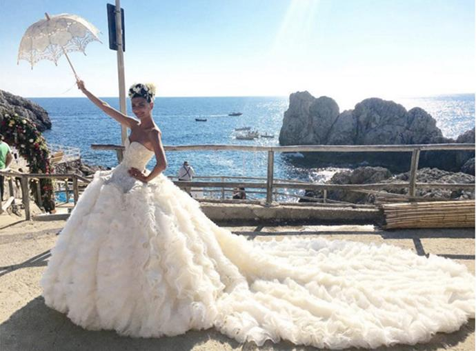 """Giovanna Battaglia had arguably the <a href=""""http://www.harpersbazaar.com.au/bazaar-brides/real-brides/2016/6/giovanna-battaglia-capri-fashion-stylist-wedding/"""">most impressive wedding</a> of the year, wearing an extravagant Alexander McQueen gown complete with an embellished corset and a long statement train to marry in Capris.<br><br> Instagram: <a href=""""https://www.instagram.com/bat_gio/?hl=en"""">@bat_gio</a>"""