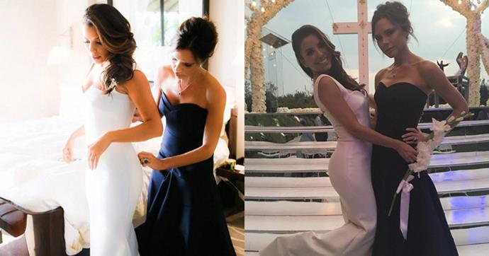 """Eva Longoria married Jose 'Pepe' Antonio Baston in Mexico wearing a dress designed by best friend Victoria Beckham. She told <em>Hello!</em> magazine, """"I asked Victoria to do my dress because I wanted it to be special and made with love - and I knew that Victoria would make it with love."""""""