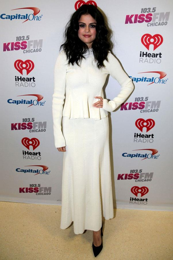 <strong>December 17, 2015</strong> <br><br> The singer donned Victoria Beckham to attend 103.5 KISS FM's Jingle Ball 2015.