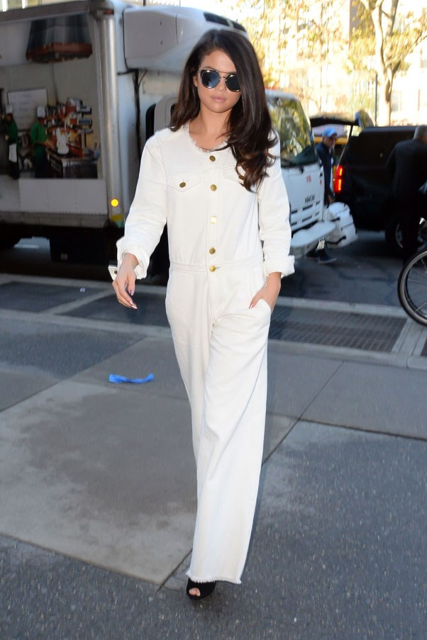 <strong>October 13, 2015</strong> <br><br> The singer looked chic stepping out in New York wearing a white jumpsuit.
