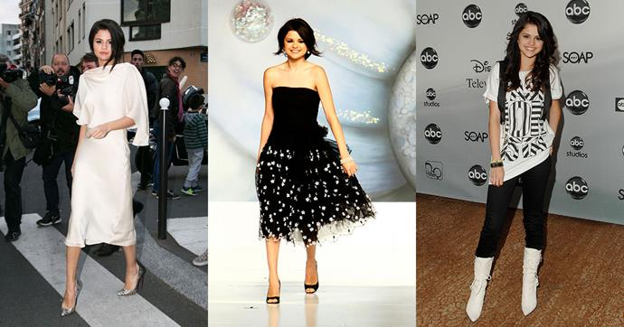 To celebrate Selena Gomez's 24th birthday, we're looking back at her complete style evolution. From white knee high boots in her Disney days, to now as the face of Louis Vuitton, her wardrobe seems to have covered every trend.