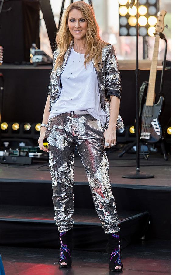 <strong>July 22nd, 2016</strong> <br><br> Celine swapped into a sequinned two-piece to perform on 'The Today Show'.