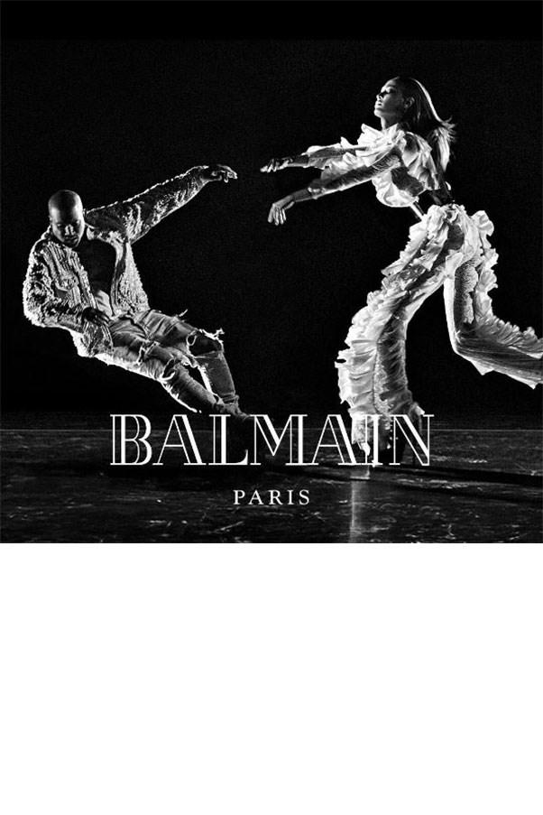 <em>Balmain</em><br><br> Modelled by Kanye West and Joan Smalls, shot by Steven Klein