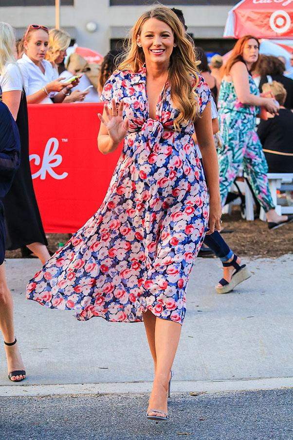 **July 1st, 2016**<br><br>  Lively hit the streets of New York in a bold floral frock and minimalist stilettos. Eschewing accessories, the actress allowed her famous mane to take centre stage in long, loose waves.