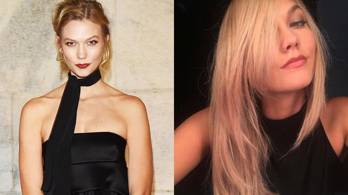 <strong>Karlie Kloss</strong><br><br> Supermodel Karlie Kloss showed off a new platinum shade on Instagram overnight.