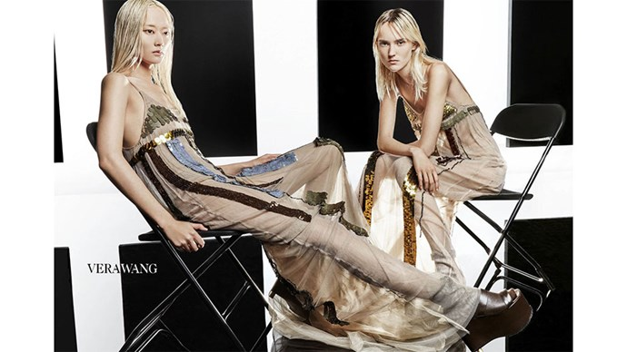 <strong>Vera Wang</strong><br><br> Modelled by Harleth Kussik and Li Xiao Xing, shot by Patrick Demarchelier