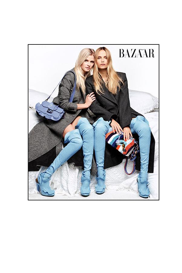 <strong>Lara:</strong><br> Coat: Max Mara Bag, socks & shoes: Fendi <br><br> <strong>Natasha:</strong><br> Coat: Roberto Cavalli<br> Bag, socks & shoes: Fendi