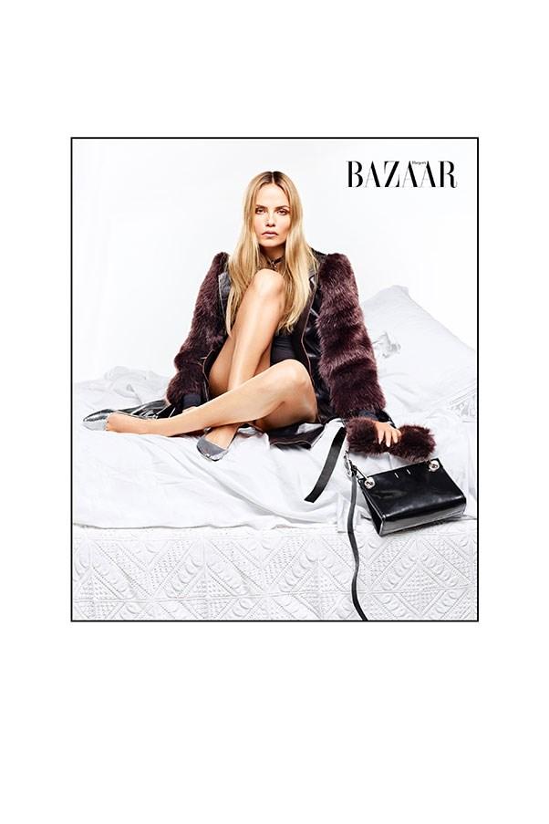 <strong>Natasha:</strong><br> Coat, choker & bag: Calvin Klein Collection<br> Shoes: Loewe