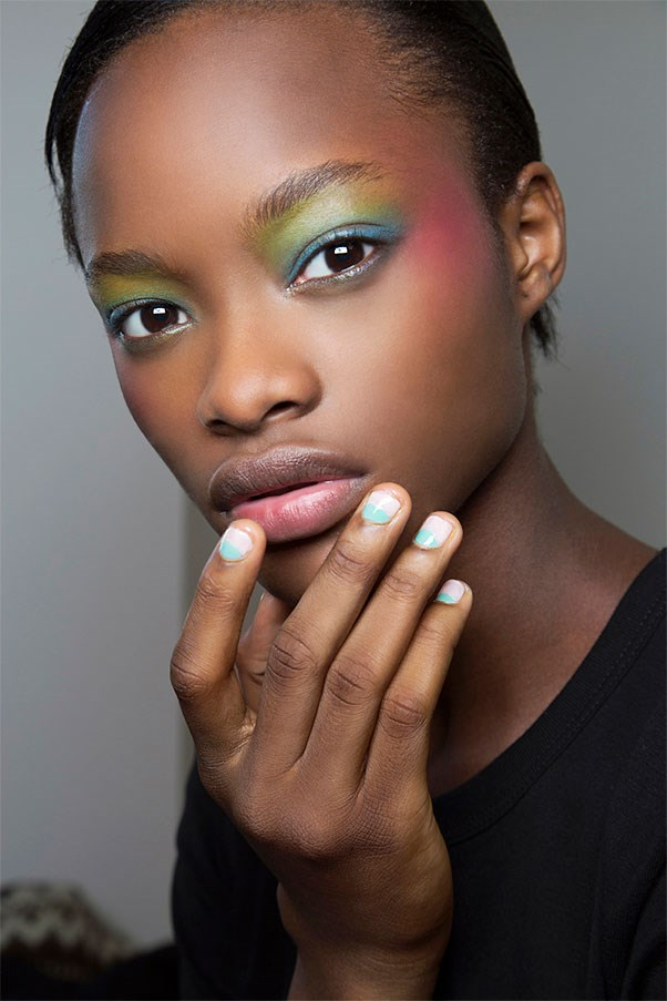 <strong>Blue Moon</strong><br><br> Reversed moon manis at Alexis Mabille evoked sand and smooth sailing.