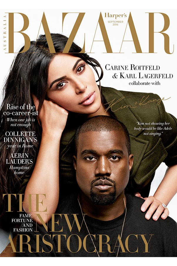 Polarising power duo Kim Kardashian and Kanye West are the stars of the September issue of Harper's BAZAAR Australia, on sale Monday August 8th. Here's a sneak peek at what to expect from BAZAAR global fashion director Carine Roitfeld's 'Icons' portfolio.<Br><br> Shot by Karl Lagerfeld<br> Styled by Carine Roitfeld<br> Creative direction by Stephen Gan