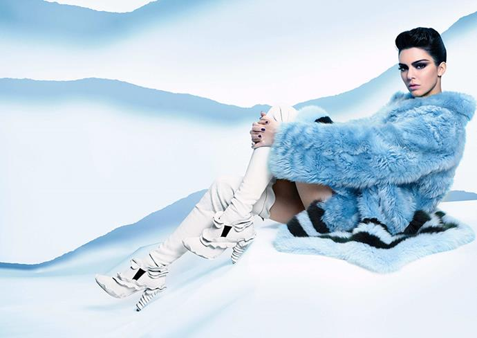 <strong>Fendi</strong><br><br> Modelled by Kendall Jenner, photographed by Karl Lagerfeld
