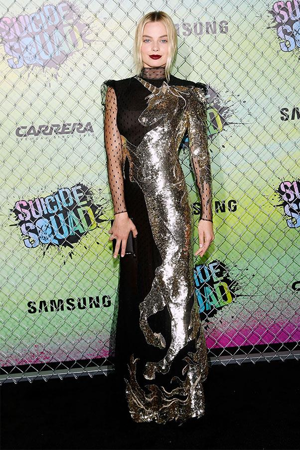 <strong>August 2nd, 2016</strong><br><br> Margot wore a sparkling unicorn Alexander McQueen gown to the world premiere of <em>Suicide Squad</em> in New York.