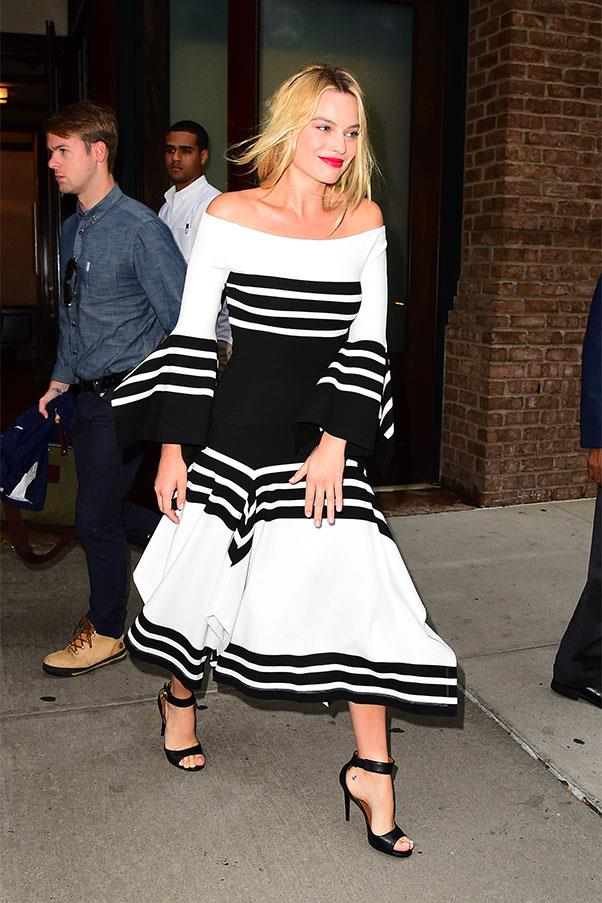 <strong>August 1st, 2016</strong><br><br> Margot opted for a chic off-the-shoulder Rosetta Getty look to promote <em>Suicide Squad</em> in New York.