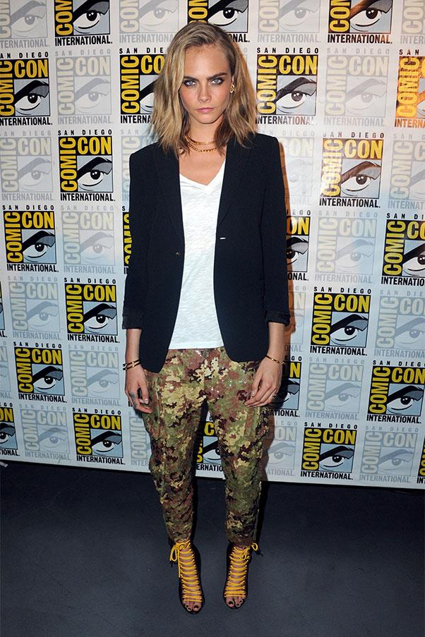 <strong>July 21st, 2016</strong><br><br> Cara wore a DSquared2 look to Comic Con in San Diego.