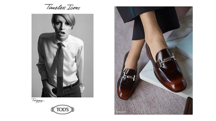 <strong>Tod's</strong><br><br> Modelled by Twiggy and Jean Shrimpton (vintage shots)