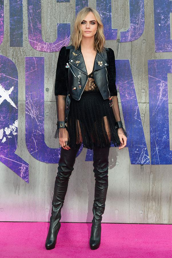 Cara quite fittingly rocked Alexander McQueen at the European premiere of <em>Suicide Squad</em>, in her stomping ground, London.