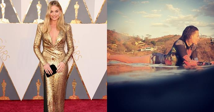 """<strong>Margot Robbie</strong><br><br> <strong>Food:</strong> According to her personal trainer, Andie Hecker, Robbie didn't restrict her calories while training for <em>Suicide Squad</em>. Even though she increased her workouts, Hecker insisted that the actor needed every bite to keep her strength up and retain her curves. <br><Br> <strong>Fitness:</strong> For 14 days before her near-nude scene in <em>Suicide Squad</em>, Margot Robbie trained for two to three hours per day. Here, she practiced a Pilates-based routine with more reps and an extra-wide range of motion than a typical Pilates regimen. With a background in ballet, Hecker also created a ballet-inspired circuit for Robbie that involved ballet jumps, a jump rope, and a rebounder. While Hecker admits that it was """"hardcore"""", Robbie also cooled off by swimming laps."""