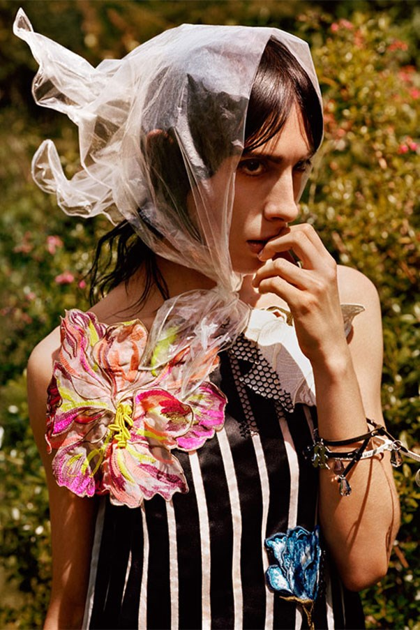 <strong>Christopher Kane</strong><br><br> Modelled by Jamie Bochert, shot by Alasdair McLellan