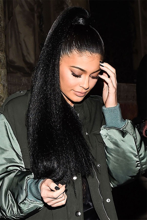 Kylie wore her hair in a high, extra-long ponytail to the Alexander Wang show on February 13, 2016.
