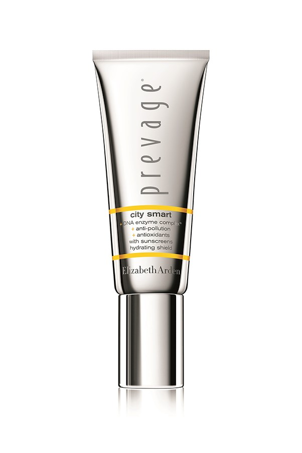 """<strong>1. PREVAGE® City Smart With Sunscreens Hydrating Shield</strong> <br><br>An innovative skin shield that prevents pollution and other environmental aggressors from speeding up the ageing process. Formulated with first-class antioxidants and a dynamic DNA Enzyme Complex™, it also strengthens skin previously weakened by free radical damage. A smart, 360 skin solution. <em><br><br><em>PREVAGE® City Smart + DNA Enzyme Complex™ + Anti-Pollution + Antioxidants With Sunscreens Hydrating Shield, $89, <a href=""""http://www.elizabetharden.com.au/product/572/PREVAGE-City-Smart-With-Sunscreens-Hydrating-Shield/"""">PREVAGE®</a> </em></em>"""