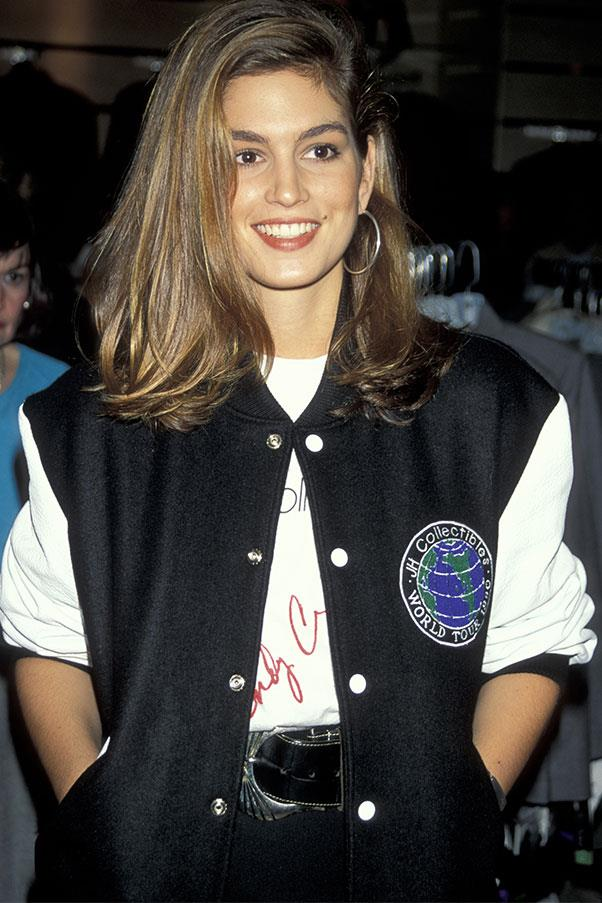 <strong>Varsity jacket + white shirt</strong><br><br> Cindy Crawford, 1990