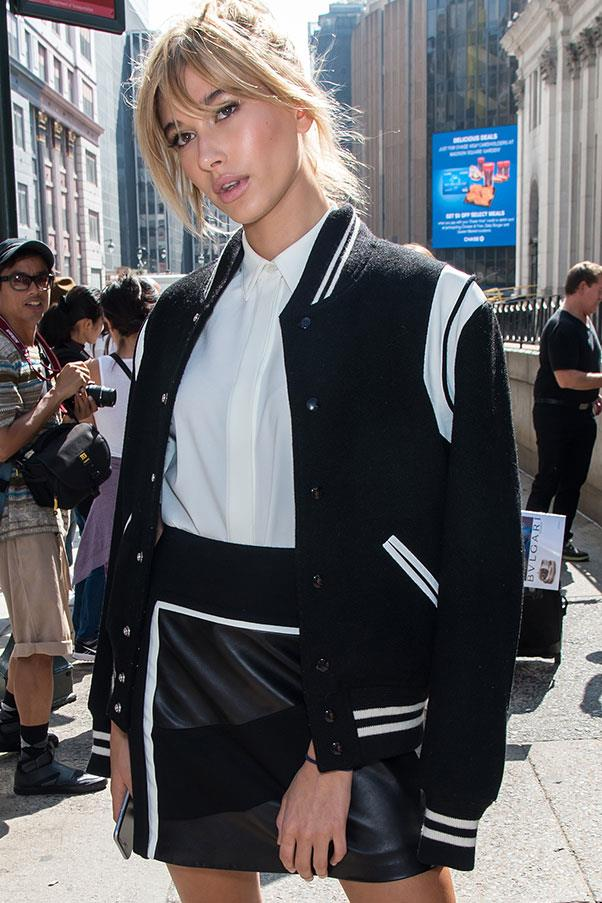 <strong>Varsity jacket + white shirt</strong><br><br> Hailey Baldwin, 2015