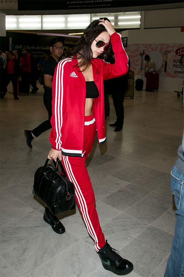 <strong>Red Adidas tracksuits</strong><br><br> Bella Hadid, 2016