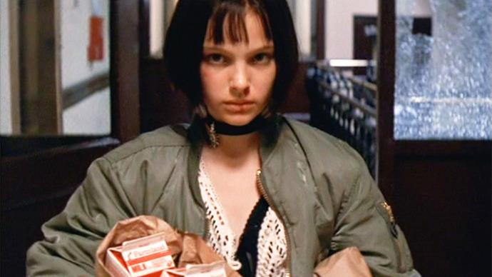<strong>Khaki bomber + black choker</strong><br><br> Natalie Portman in <em>Leon: The Professional</em>, 1994