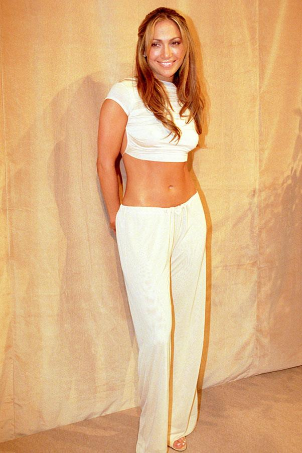 <strong>White, midriff-baring two-piece</strong><br><br> Jennifer Lopez, 1999