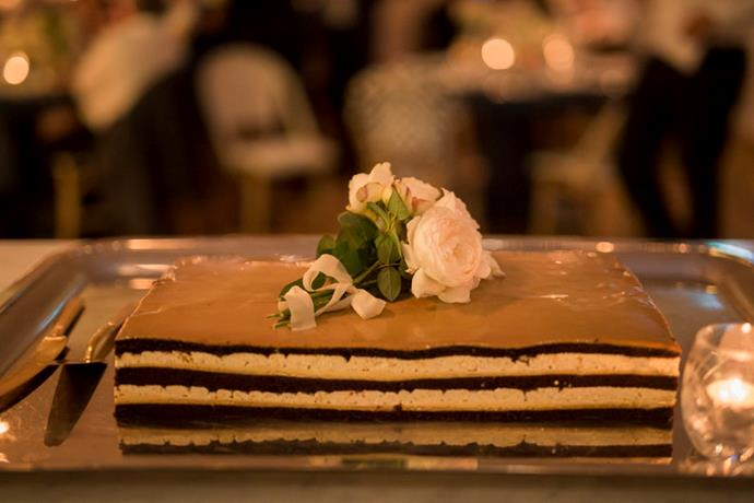 <strong>On the cake:</strong> <br><br> I'm not a big fan of big feature wedding cakes, so it was a no-brainer to get the chefs at Paper Daisy to make our cake; it was chocolate and wattle seed (recommended by the chefs) and was absolutely delicious.