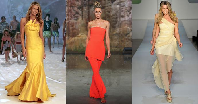 As Jennifer Hawkins is announced as the face of Myer for another two years, we're looking back through the model's best runway moments for the Australian brand.
