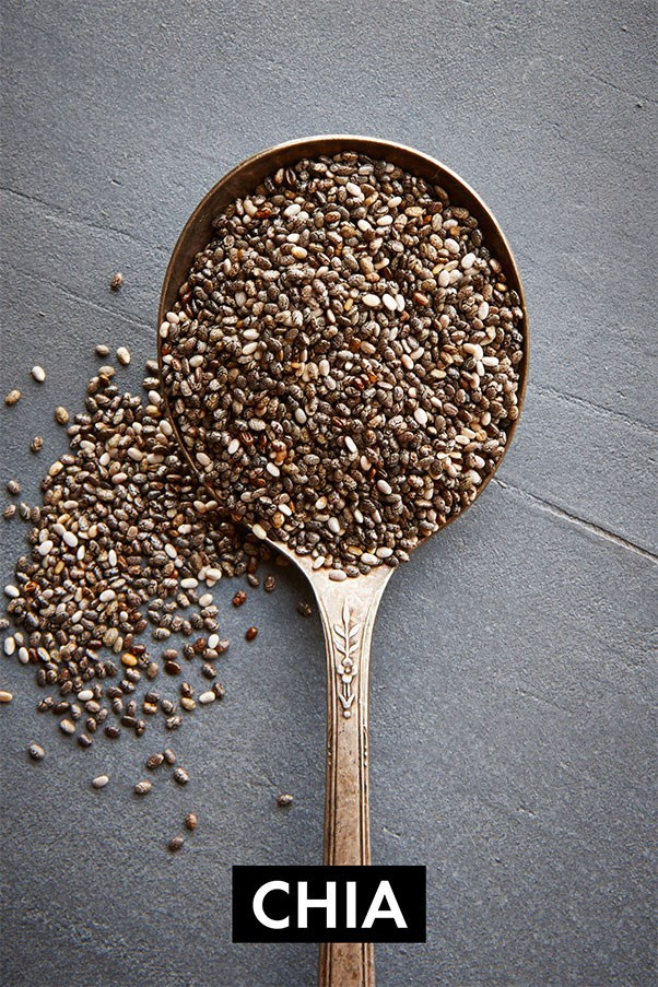 Packed with omega-3 fats, fibre, and protein, these tiny seeds help suppress the appetite, fire up the metabolism, and turn on glucagon, one of the body's fat-burning hormones. The trick is to soak them for 14 minutes so they swell up to 10 times their size. Just as with oatmeal, the larger the seeds are, the quicker your stomach will release those hormones that let you know you're full - an hopefully satisfied. <br><br> <strong>Easy meal ideas:</strong> Make a chia seed pudding by soaking them in almond milk and then topping them with raw almonds, blend them with coconut milk and pineapple for a piña colada-inspired dessert, or eat a chia energy bar.