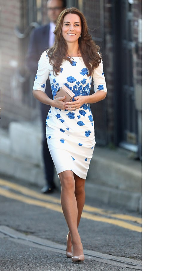 The Duchess stepped out in a spring-appropriate floral dress by L.K Bennett while visiting a youth centre in Luton.