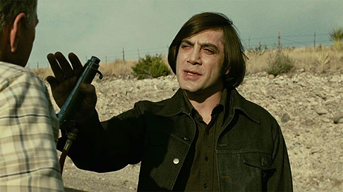 <strong>10. No Country For Old Men (2007)</strong><br><br> Another Coen Brothers' entry; <em>No Country For Old Men</em> is a brooding, dark masterpiece featuring a bone-chilling performance by Javier Bardem as a deranged assassin (with a horrific bowl-cut).