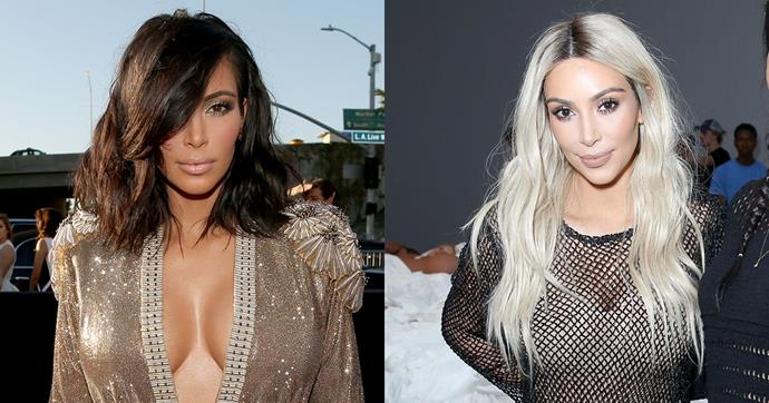<strong>Kim Kardashian</strong><br><br> Kim debuted her new blonde look at an LA exhibition of her husband Kanye West's 'Famous' wax works.