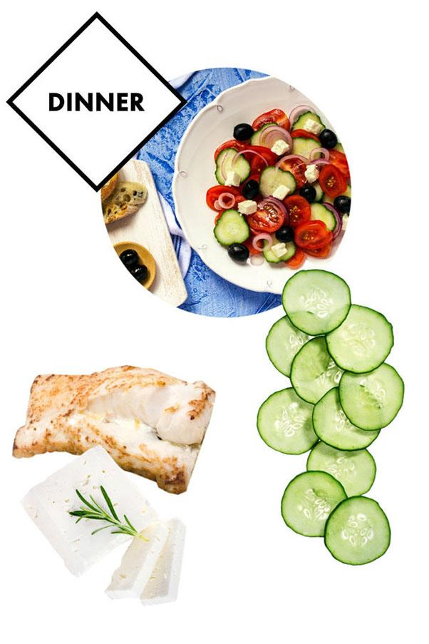 """<strong>Dinner: Sea bass with a Greek salad topped with goat's cheese or halloumi</strong> <br><br> While dairy is avoided, Laubscher says, """"It gets really boring, life with no cheese, I feel."""""""