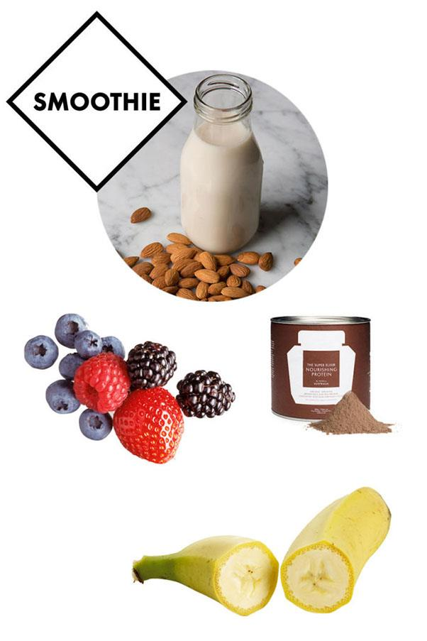 """<strong>Smoothie: 400ml of almond milk, a scoop of WelleCo.'s plant-based <a href=""""http://www.welleco.com/collections/nourishing-protein/products/the-super-elixir-white-edition"""">nourishing protein</a>, half a frozen banana, and a handful of berries</strong> <br><br> Throughout the day, Macpherson makes sure to drink a ton of water–three litres to be exact. When she's in a big hurry, she turns to this favourite smoothie recipe (Laubscher promises it'll save you from getting """"hangry"""" mid-afternoon) which can be boosted with <a href=""""http://www.welleco.com/collections/alkalising-greens/products/the-super-elixir-300g-with-caddy"""">WelleCo. super elixir alkalising greens </a>mixed in."""