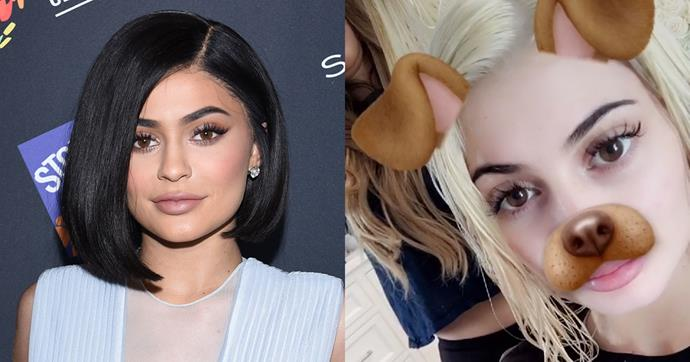 <strong>Kylie Jenner</strong><br><br> The young Kardashian has left her signature brunette locks behind for a bleached blonde look. <br><br> Image: Snapchat