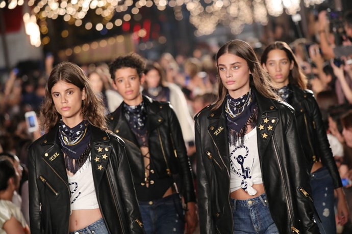 Models walked in pairs down the runway.