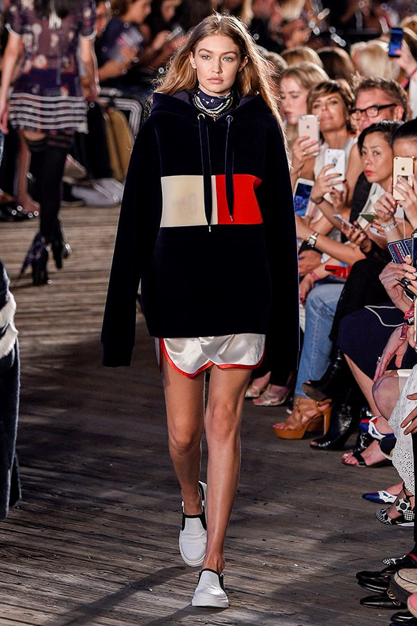 <strong>Day 3:</strong> <br><br> Hadid walking the runway at the Tommy Hilfiger women's fashion show.