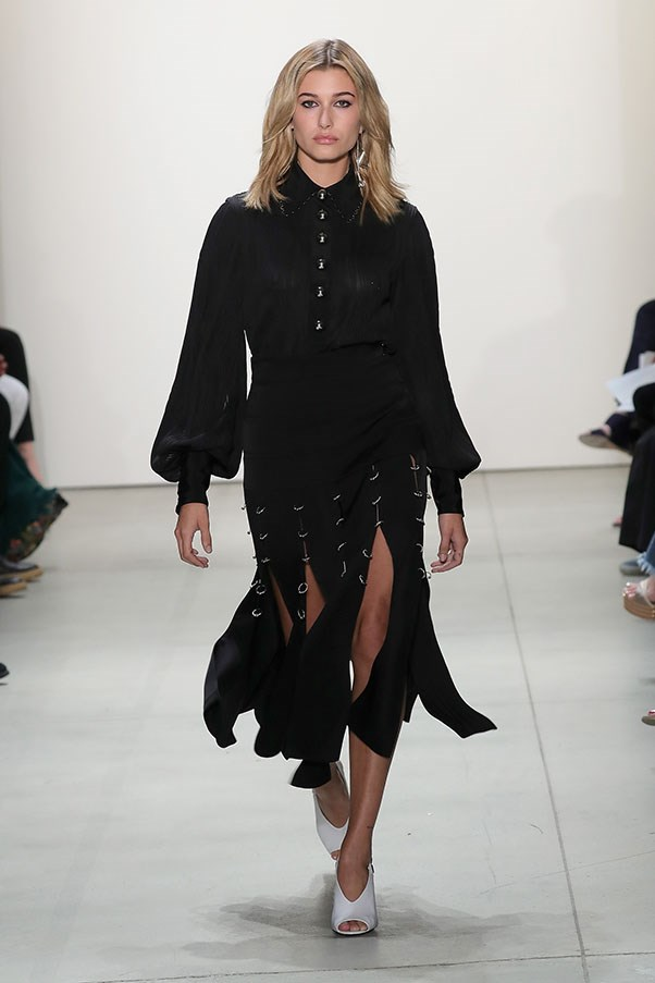 <strong>Day 5:</strong> <br><br> Baldwin walks the runway at the Prabal Gurung S/S '17 fashion show.