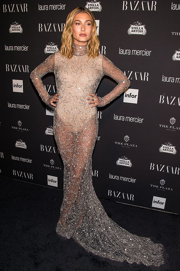 <strong>Day 3:</strong> <br><br> All eyes on Hailey as she stepped out at the <em>Harper's BAZAAR</em> Icons party in this sparkling gossamer gown by Naeem Khan.