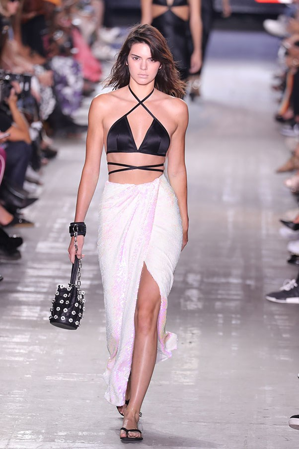 <strong>Day 4:</strong> <br><br> Jenner walks the runway at Alexander Wang S/S '17 show.