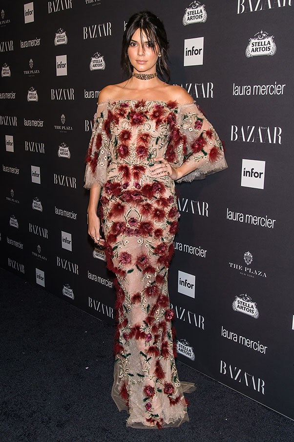 <strong>Day 3:</strong> <br><br> Kendall decked out in this Marchesa masterpiece at the <em>Harper's BAZAAR</em> Icons party.