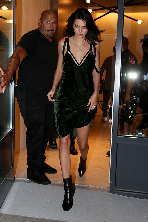 <strong>Day 2</strong> <br><br> Kendall following Hailey out of Kylie's apartment in hot fashion pursuit in this slinky velvet dress.