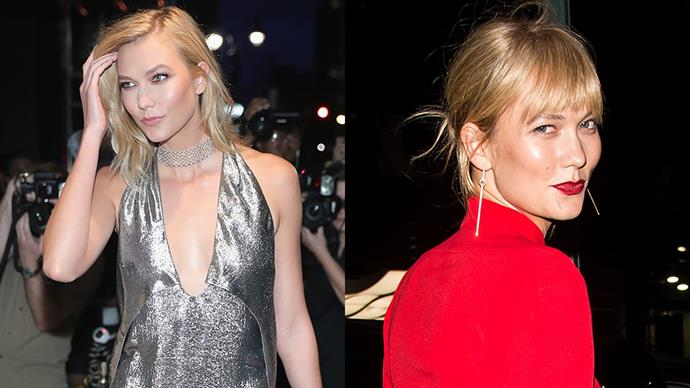 <strong>Karlie Kloss</strong><BR><BR> The NY-based supermodel tried out a brow-skimming fringe during NYFW, but we have a feeling her bangs may be of the clipped-in variety - agree?