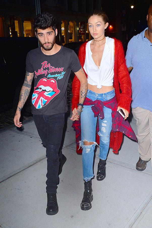<strong>When:</strong> September, 2016<br> <strong>What:</strong> Zayn keeps it cool in a Rolling Stones band tee while Gigi stays classic in ripped jeans, combat boots and a flannel shirt.