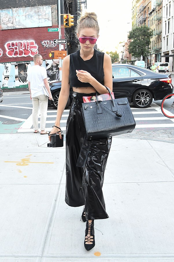 <strong>Day 5:</strong> <br><br> Gigi rocks head-to-toe black and an impressive pair of leather culottes while out and about in New York.