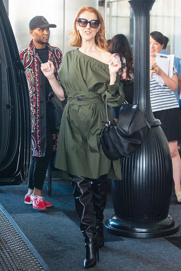 <strong>September 9th, 2016</strong> <br><br> Forget NYFW - Celine is bringing fashion editor levels of chic to Los Angeles in this khaki ensemble - accessorised with Balenciaga thigh-high leather boots and the street star-favourite Loewe puzzle bag.