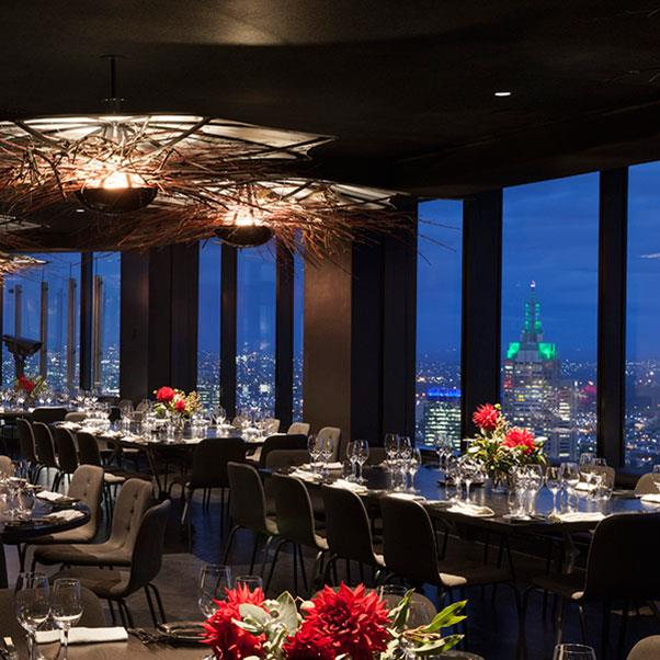 """<strong><a href=""""http://www.vuedemonde.com.au/"""">Vue de Monde and Bar Lui</a></strong> </strong> <br><br> <strong>Location:</strong> Melbourne, VIC <br><br> If you want the best view of Melbourne, this is it. Whether you eat at Vue de Monde or just opt for a cocktail (or two) at Bar Lui, you're going to be set for the perfect Insta. Our advice? Get creative, because this place has featured on the feed a lot (unsurprising when you just look at that interior ceiling design). <br><br> <a href=""""https://www.instagram.com/vuedemonde/"""">@vuedemonde</a>"""